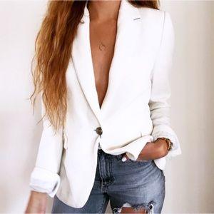 NEW Zara Chic Elegant White Textured Blazer Jacket